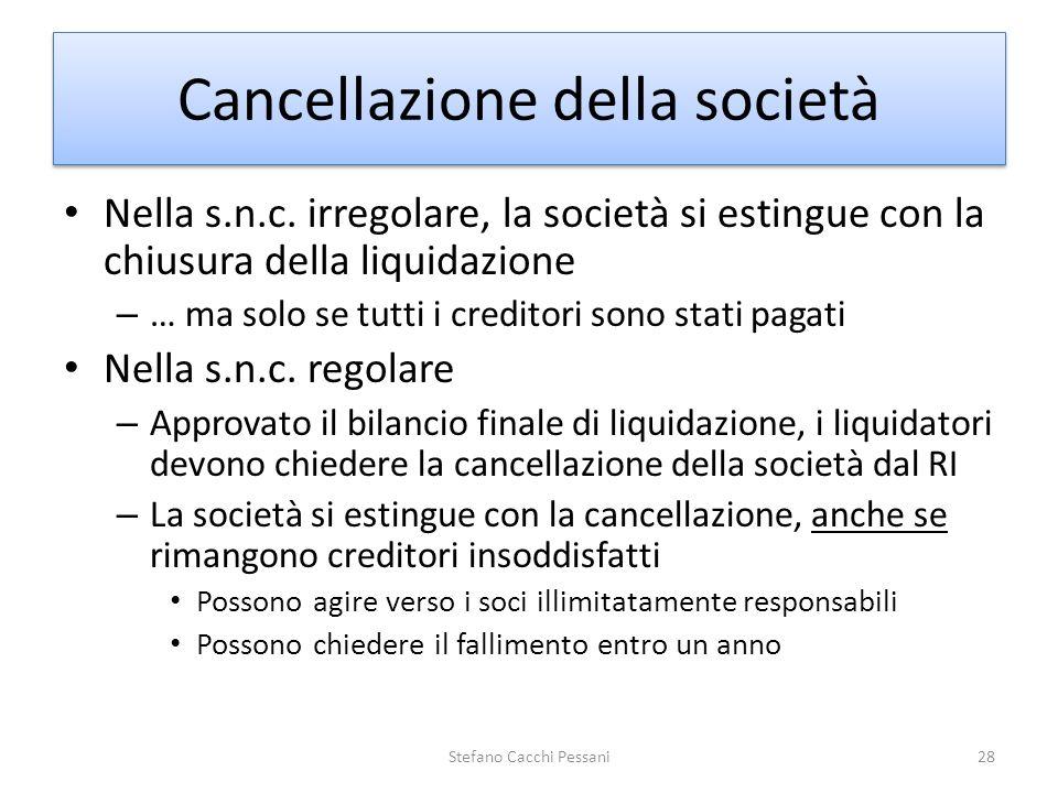 Cancellazione della società