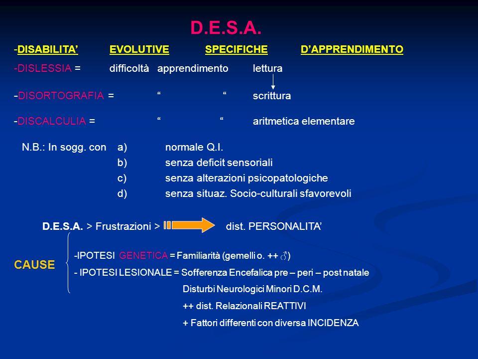 D.E.S.A. -DISORTOGRAFIA = scrittura CAUSE