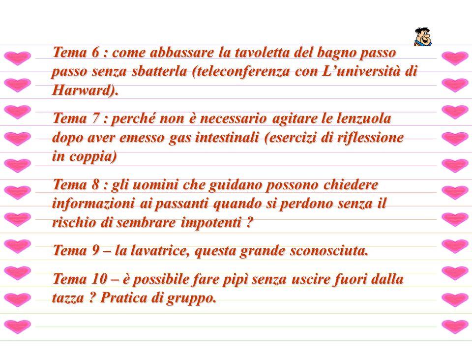 Tema 6 : come abbassare la tavoletta del bagno passo passo senza sbatterla (teleconferenza con L'università di Harward).