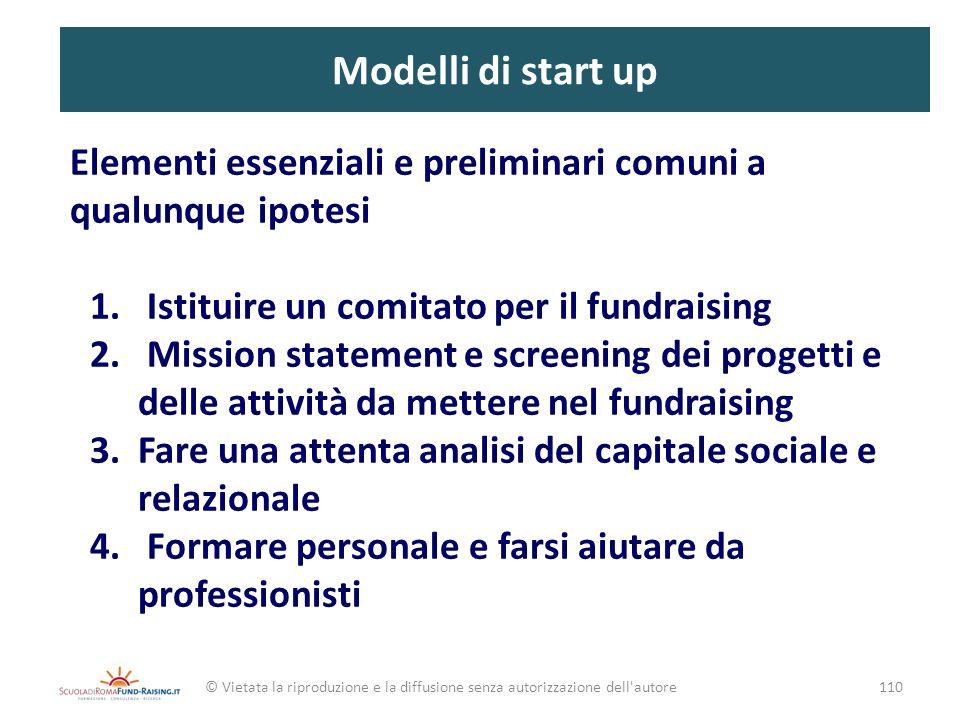Modelli di start up Elementi essenziali e preliminari comuni a qualunque ipotesi. Istituire un comitato per il fundraising.