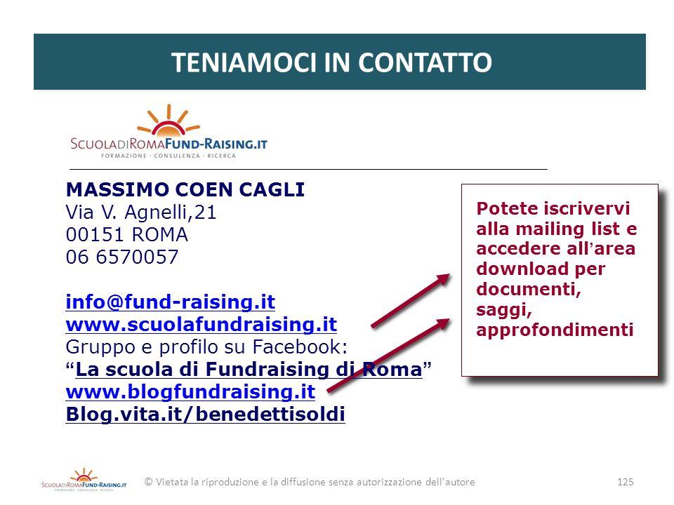 TENIAMOCI IN CONTATTO MASSIMO COEN CAGLI Via V. Agnelli,21 00151 ROMA