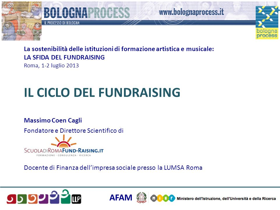 La sostenibilità delle istituzioni di formazione artistica e musicale: LA SFIDA DEL FUNDRAISING Roma, 1-2 luglio 2013 IL CICLO DEL FUNDRAISING