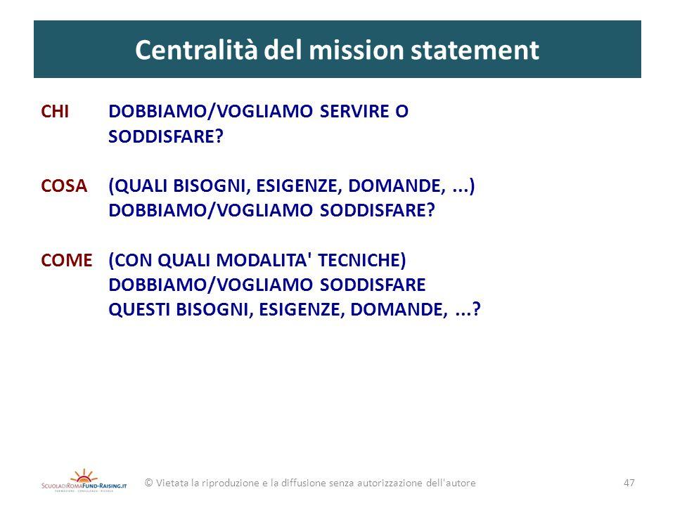Centralità del mission statement