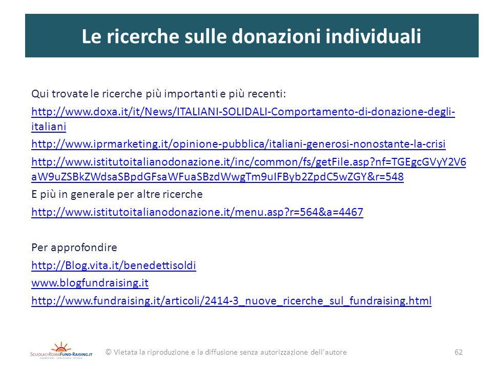Le ricerche sulle donazioni individuali