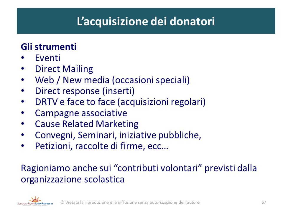 L'acquisizione dei donatori