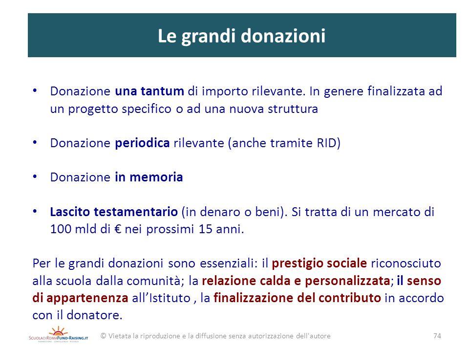 Le grandi donazioni Donazione una tantum di importo rilevante. In genere finalizzata ad un progetto specifico o ad una nuova struttura.