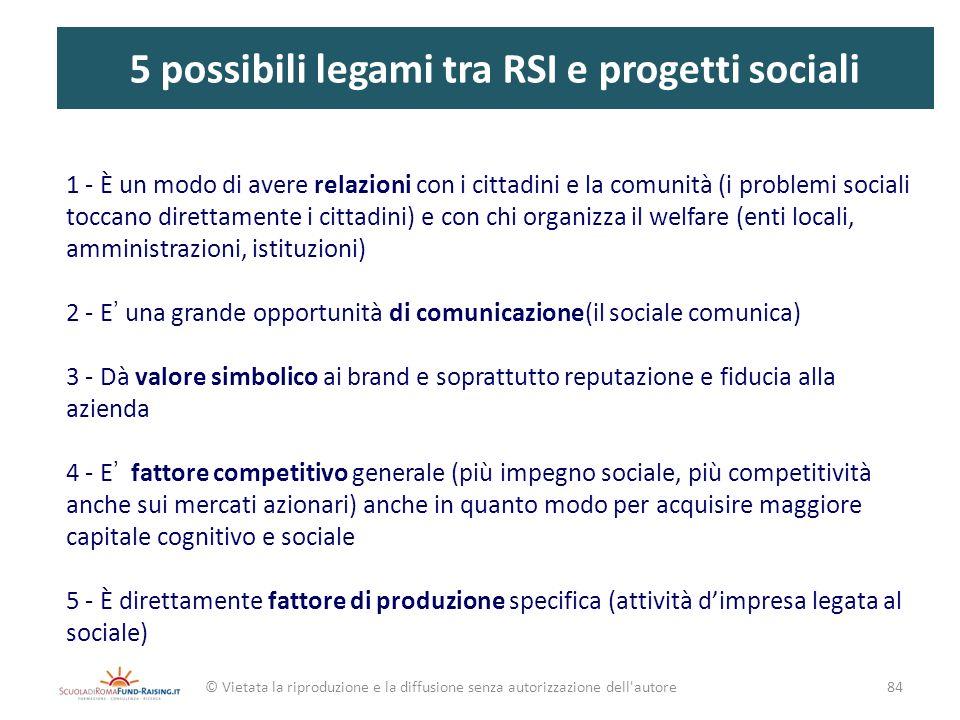 5 possibili legami tra RSI e progetti sociali