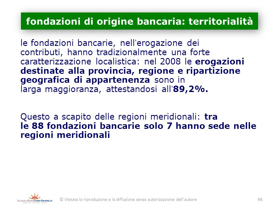 fondazioni di origine bancaria: territorialità