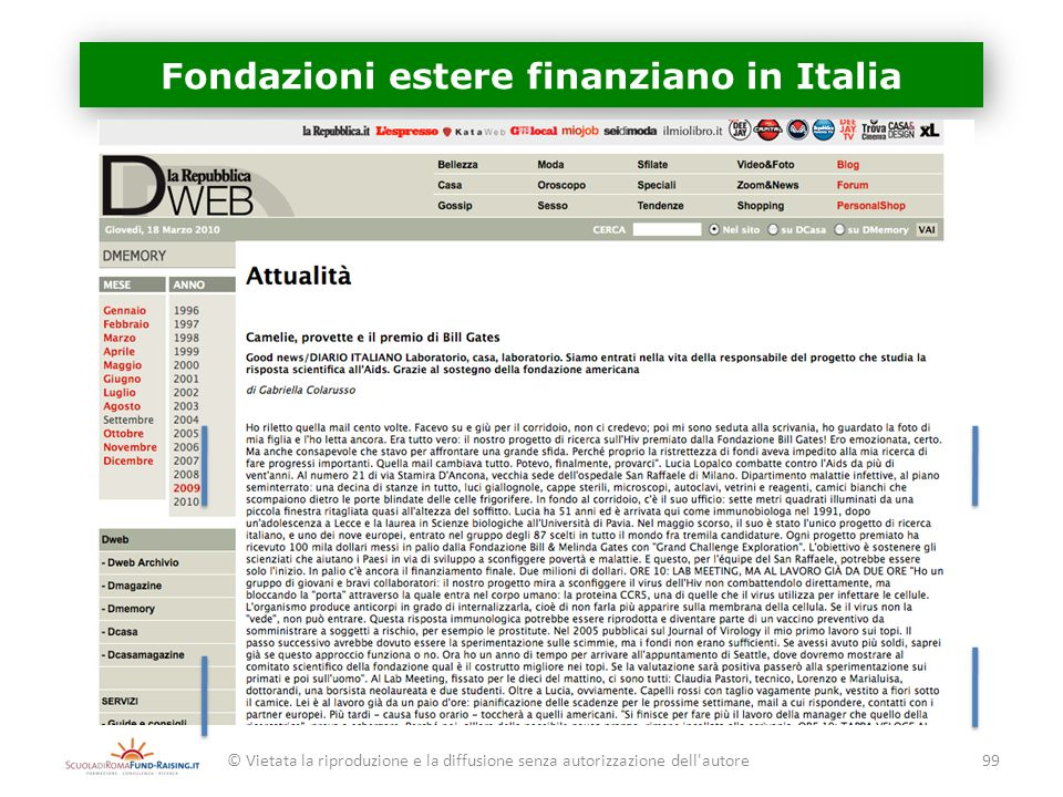Fondazioni estere finanziano in Italia