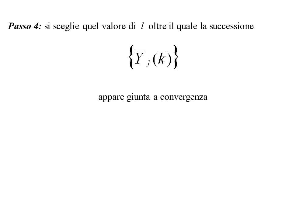 Passo 4: si sceglie quel valore di l oltre il quale la successione