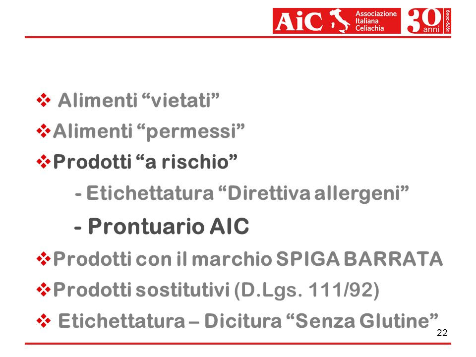 - Prontuario AIC Alimenti vietati Alimenti permessi