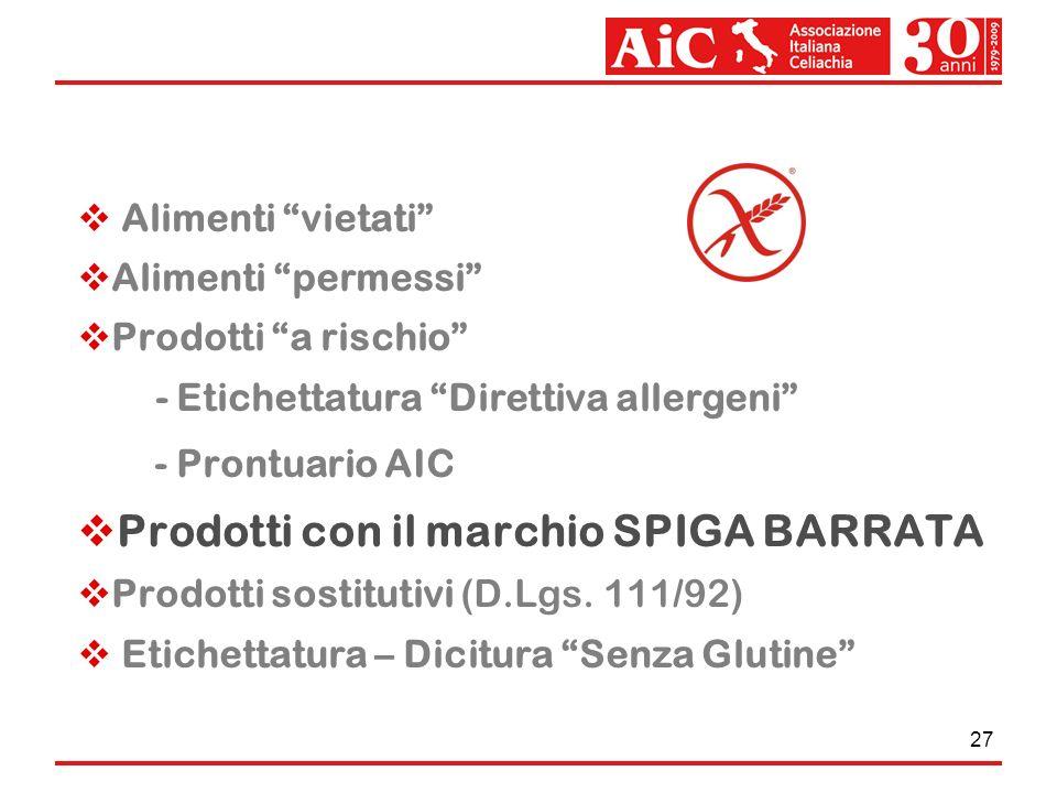 Prodotti con il marchio SPIGA BARRATA