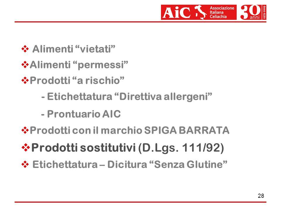 Prodotti sostitutivi (D.Lgs. 111/92)
