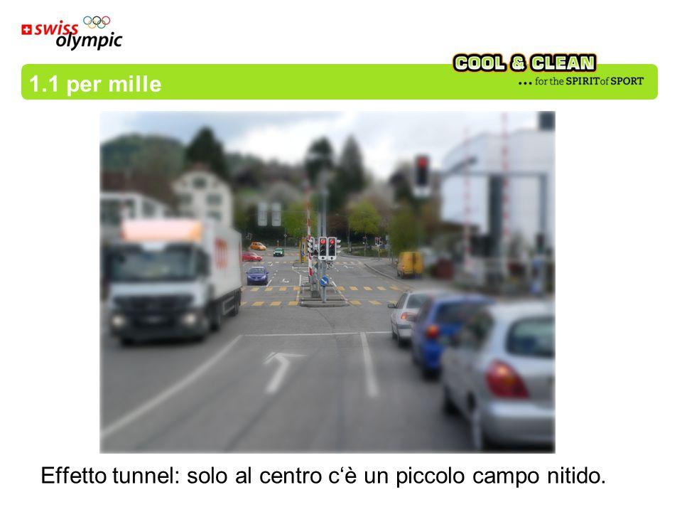 1.1 per mille Effetto tunnel: solo al centro c'è un piccolo campo nitido.
