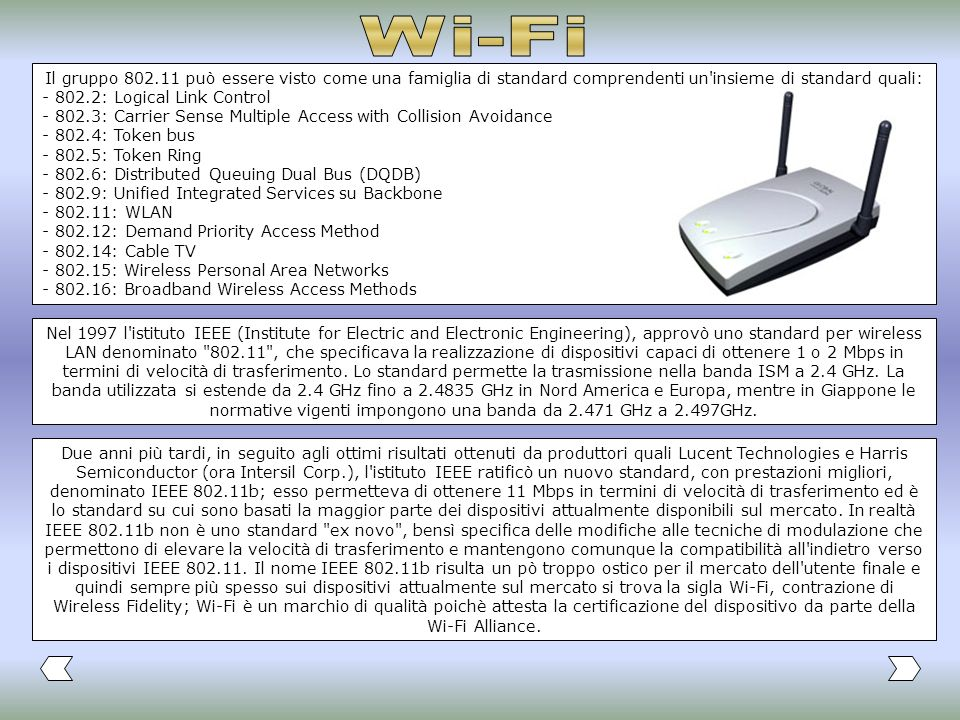 Wi-FiIl gruppo 802.11 può essere visto come una famiglia di standard comprendenti un insieme di standard quali: