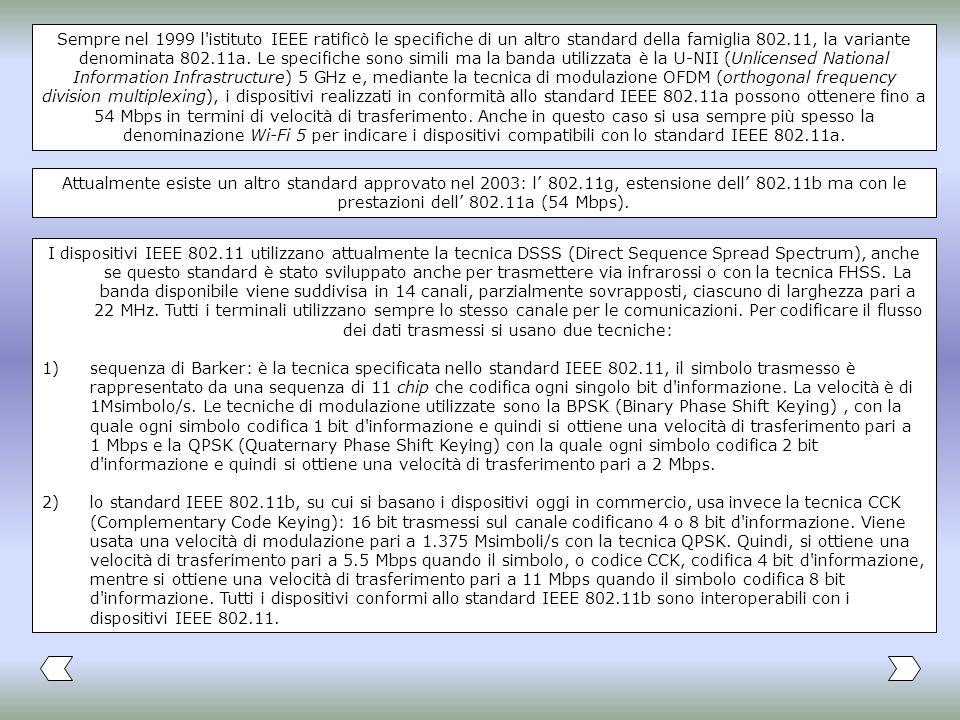 Sempre nel 1999 l istituto IEEE ratificò le specifiche di un altro standard della famiglia 802.11, la variante denominata 802.11a. Le specifiche sono simili ma la banda utilizzata è la U-NII (Unlicensed National Information Infrastructure) 5 GHz e, mediante la tecnica di modulazione OFDM (orthogonal frequency division multiplexing), i dispositivi realizzati in conformità allo standard IEEE 802.11a possono ottenere fino a 54 Mbps in termini di velocità di trasferimento. Anche in questo caso si usa sempre più spesso la denominazione Wi-Fi 5 per indicare i dispositivi compatibili con lo standard IEEE 802.11a.