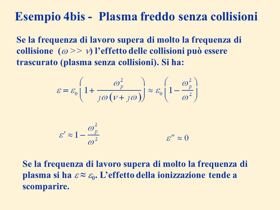 Esempio 4bis - Plasma freddo senza collisioni