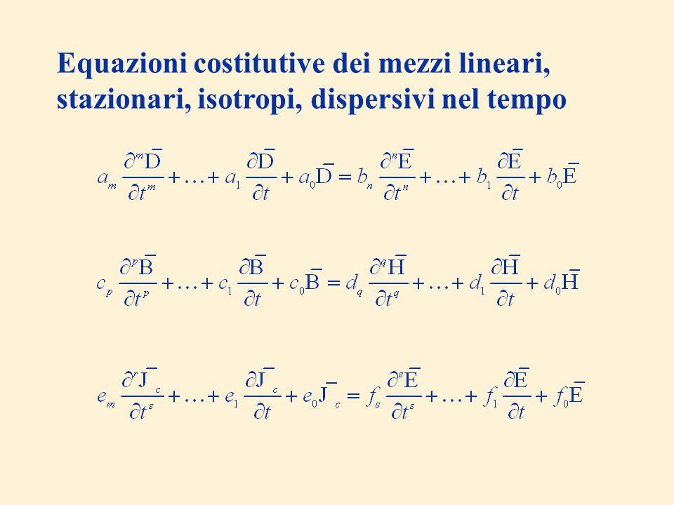Equazioni costitutive dei mezzi lineari, stazionari, isotropi, dispersivi nel tempo