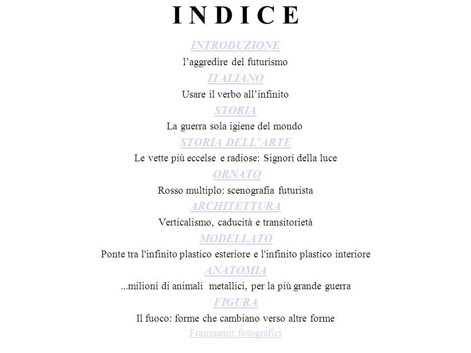 I N D I C E INTRODUZIONE ITALIANO STORIA STORIA DELL'ARTE ARCHITETTURA