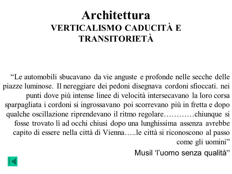 Architettura VERTICALISMO CADUCITÀ E TRANSITORIETÀ