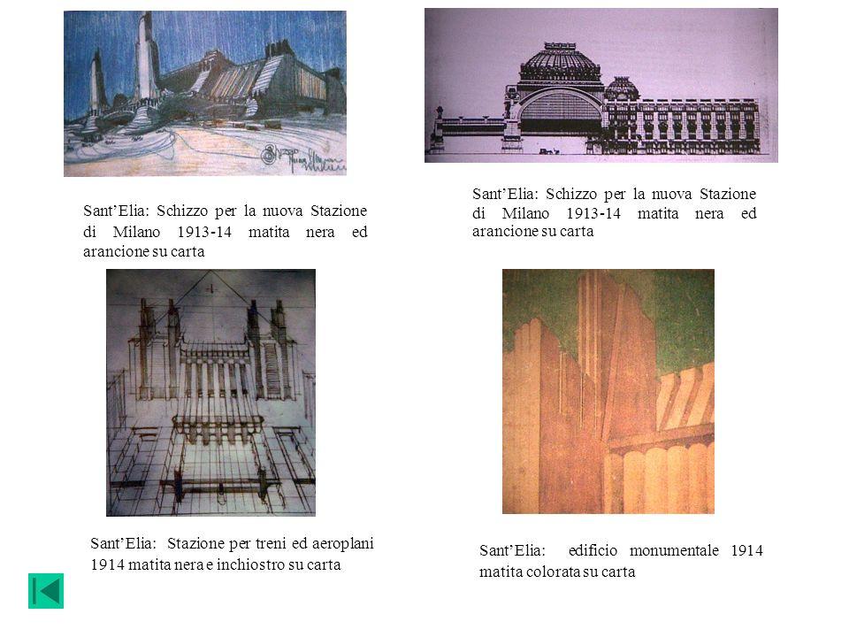 Sant'Elia: Schizzo per la nuova Stazione di Milano 1913-14 matita nera ed arancione su carta