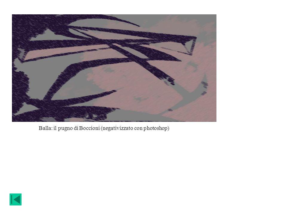 Balla: il pugno di Boccioni (negativizzato con photoshop)