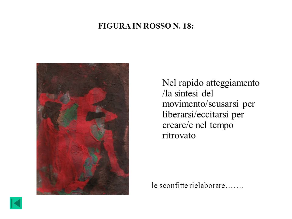 FIGURA IN ROSSO N. 18: Nel rapido atteggiamento /la sintesi del movimento/scusarsi per liberarsi/eccitarsi per creare/e nel tempo ritrovato.