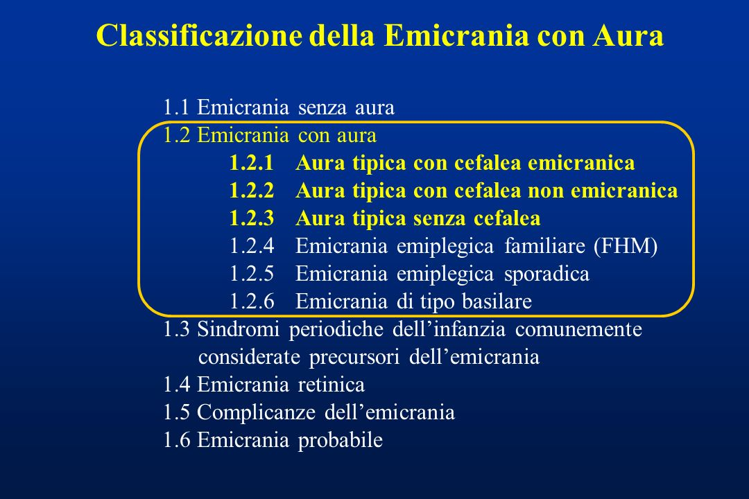 Classificazione della Emicrania con Aura