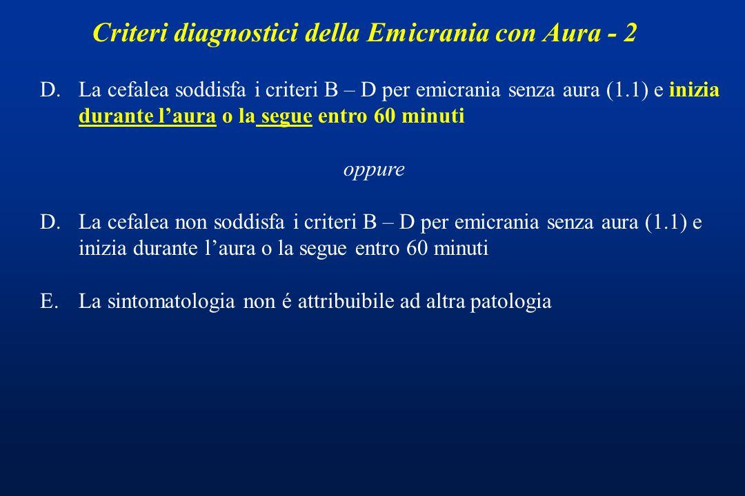 Criteri diagnostici della Emicrania con Aura - 2
