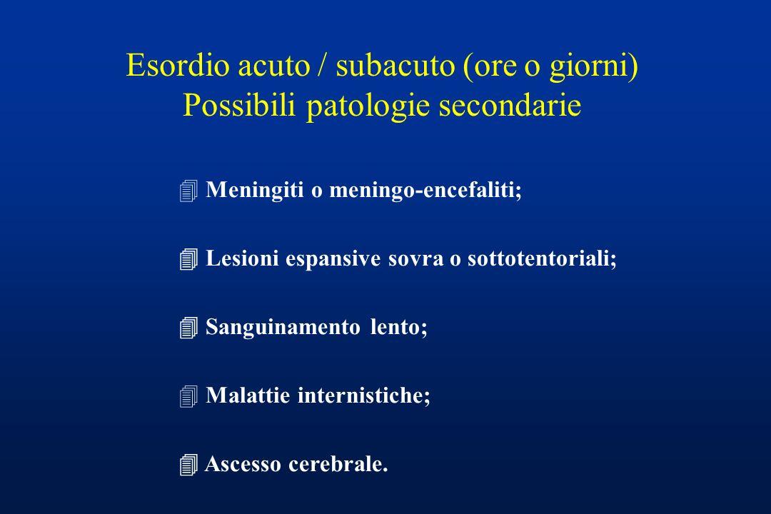 Esordio acuto / subacuto (ore o giorni) Possibili patologie secondarie
