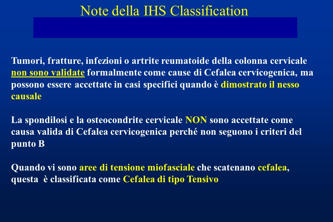 Note della IHS Classification