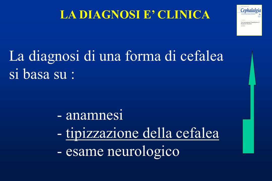 La diagnosi di una forma di cefalea si basa su :