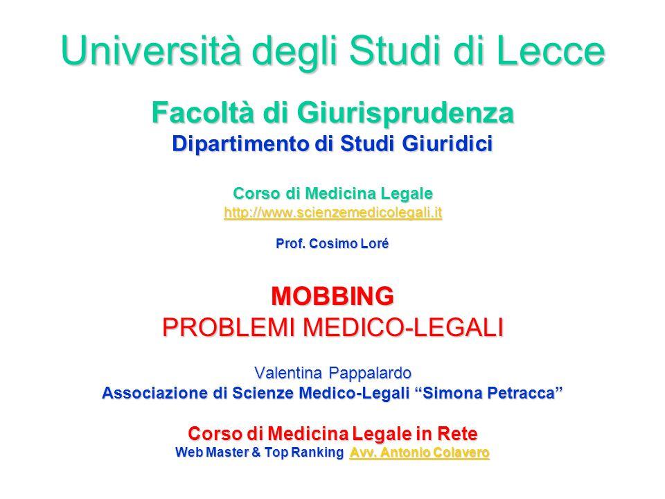 Università degli Studi di Lecce Facoltà di Giurisprudenza Dipartimento di Studi Giuridici Corso di Medicina Legale http://www.scienzemedicolegali.it Prof. Cosimo Loré