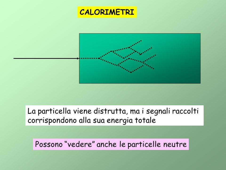 CALORIMETRI La particella viene distrutta, ma i segnali raccolti. corrispondono alla sua energia totale.