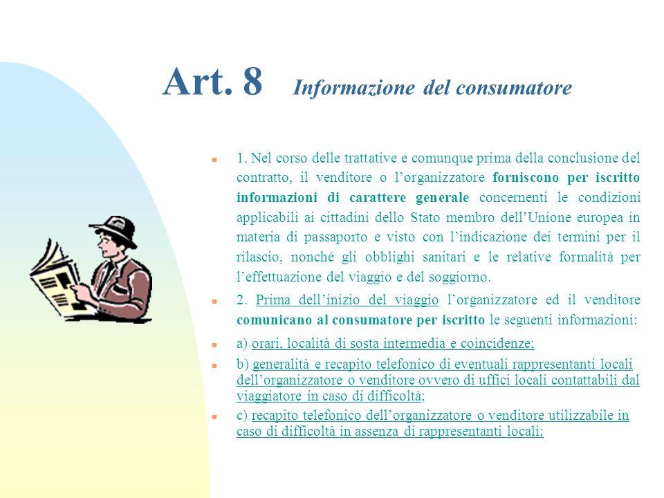 Art. 8 Informazione del consumatore