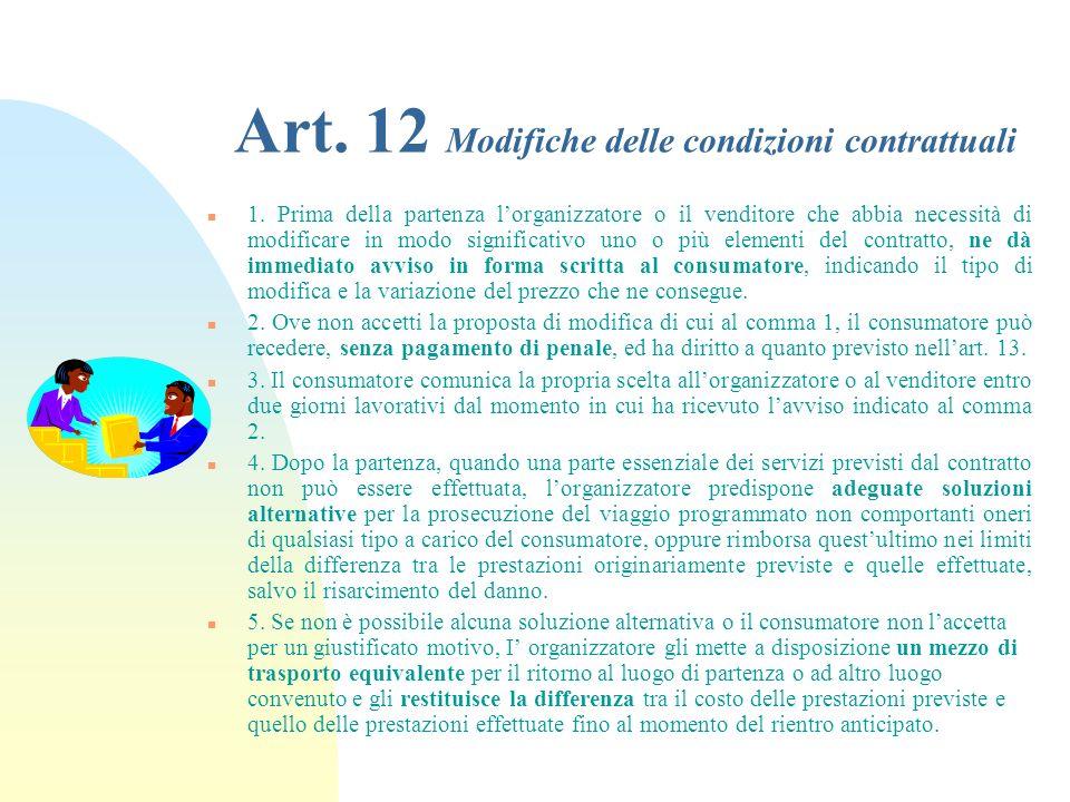 Art. 12 Modifiche delle condizioni contrattuali