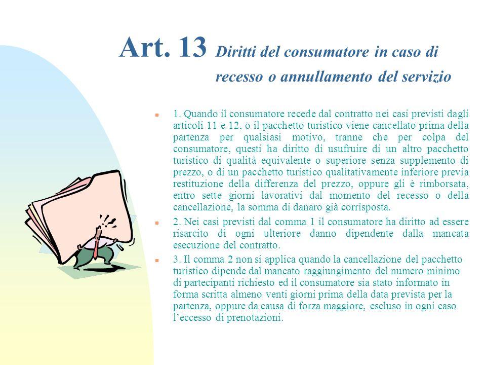 29/03/2017 Art. 13 Diritti del consumatore in caso di recesso o annullamento del servizio.