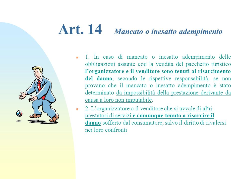 Art. 14 Mancato o inesatto adempimento