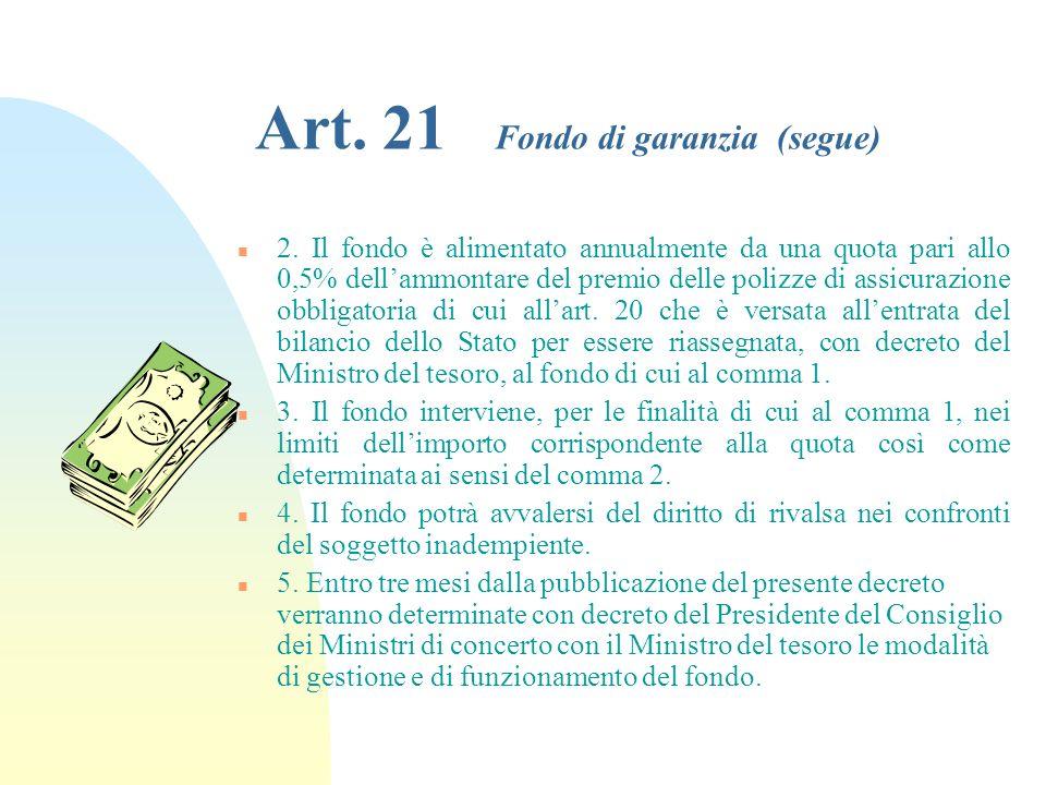 Art. 21 Fondo di garanzia (segue)
