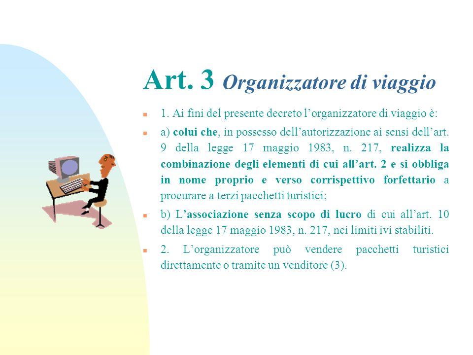 Art. 3 Organizzatore di viaggio