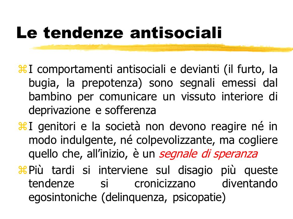 Le tendenze antisociali