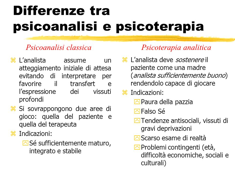 Differenze tra psicoanalisi e psicoterapia