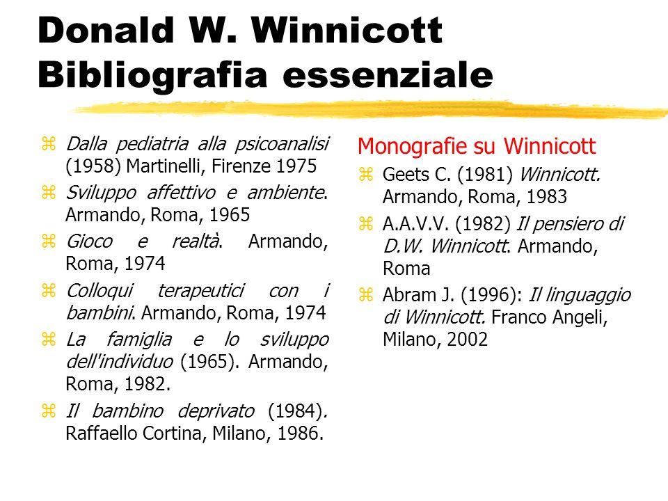 Donald W. Winnicott Bibliografia essenziale