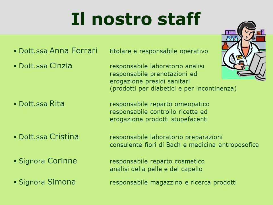 Il nostro staff Dott.ssa Anna Ferrari titolare e responsabile operativo.