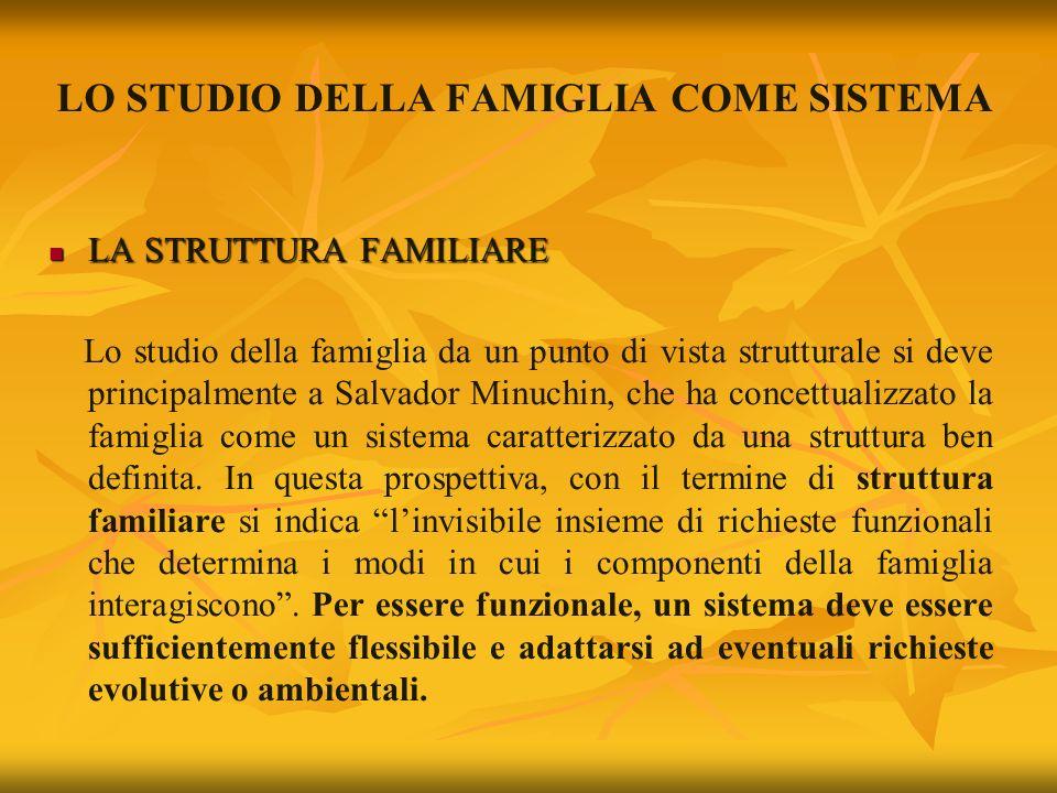 LO STUDIO DELLA FAMIGLIA COME SISTEMA