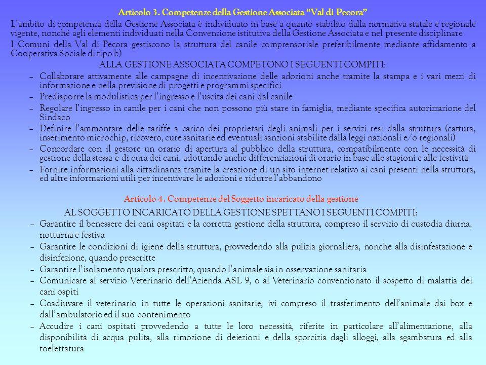 Articolo 3. Competenze della Gestione Associata Val di Pecora