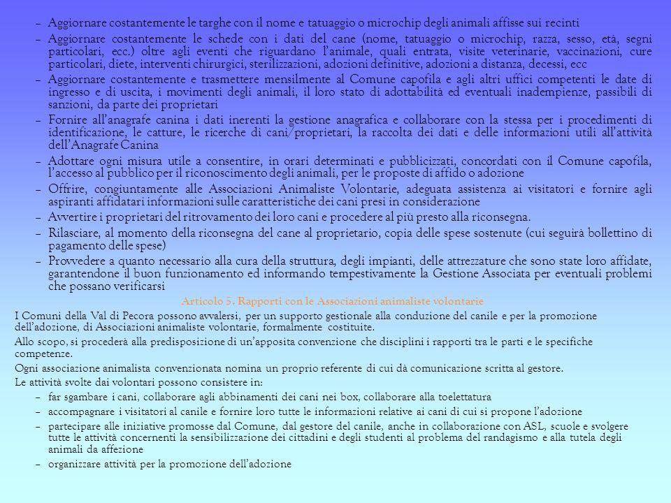 Articolo 5. Rapporti con le Associazioni animaliste volontarie