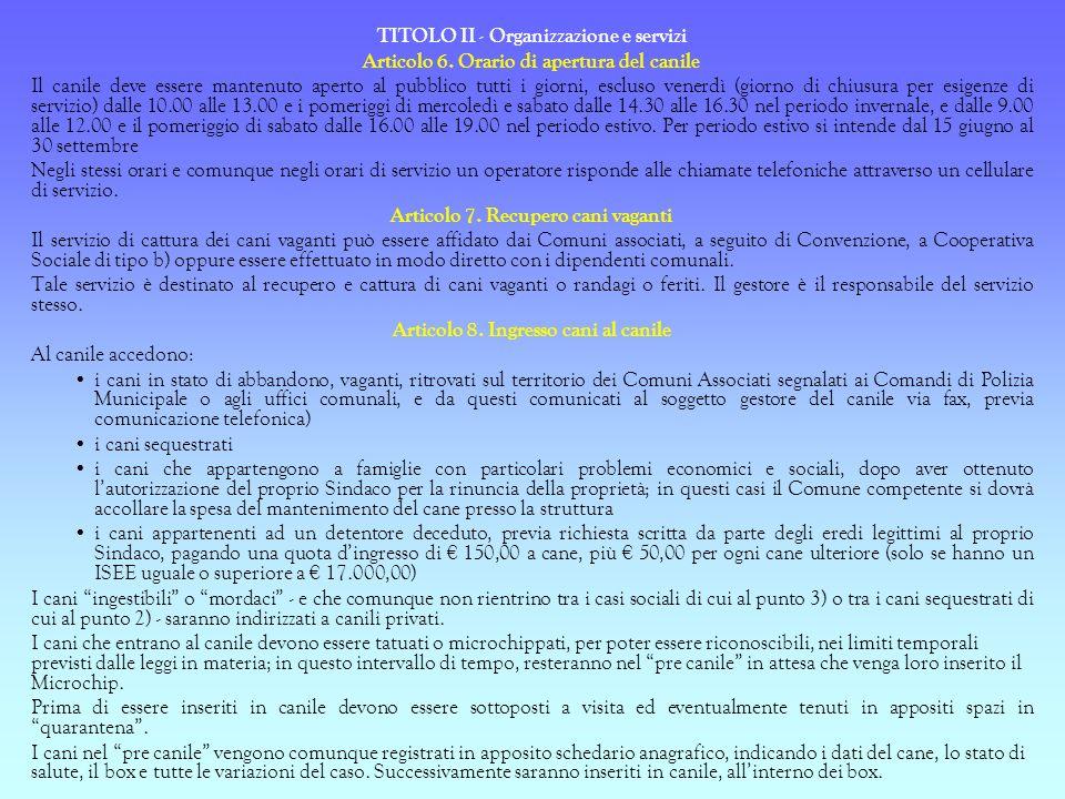 TITOLO II - Organizzazione e servizi