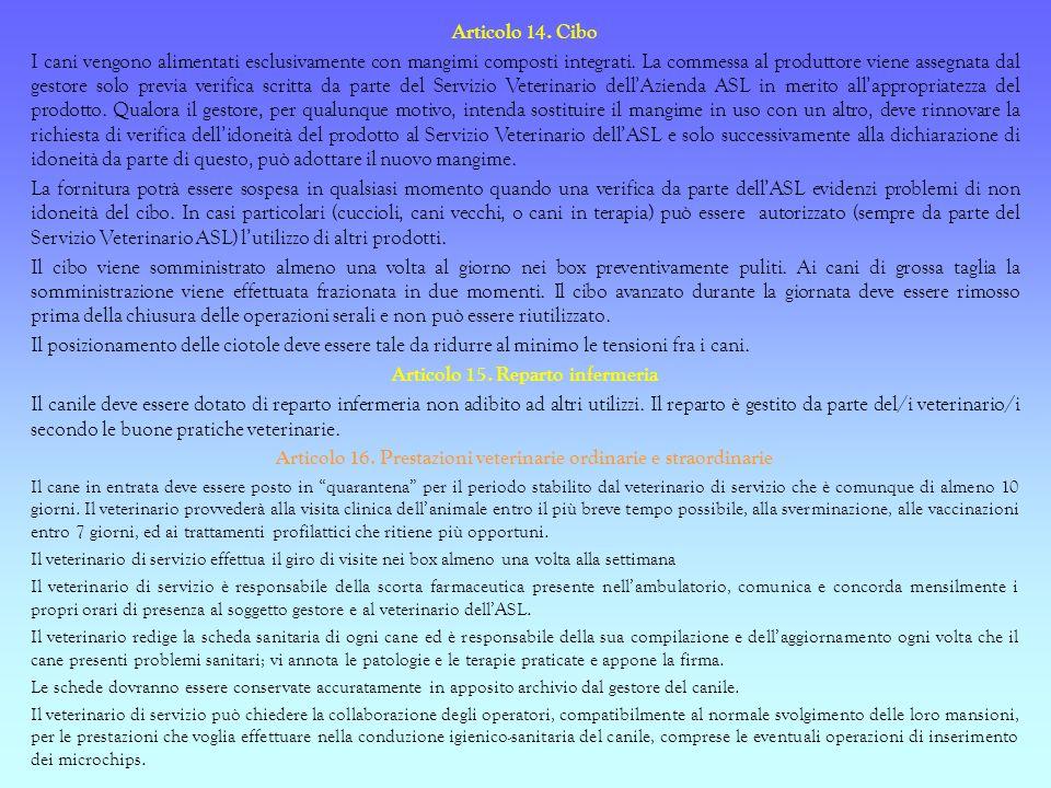 Articolo 15. Reparto infermeria