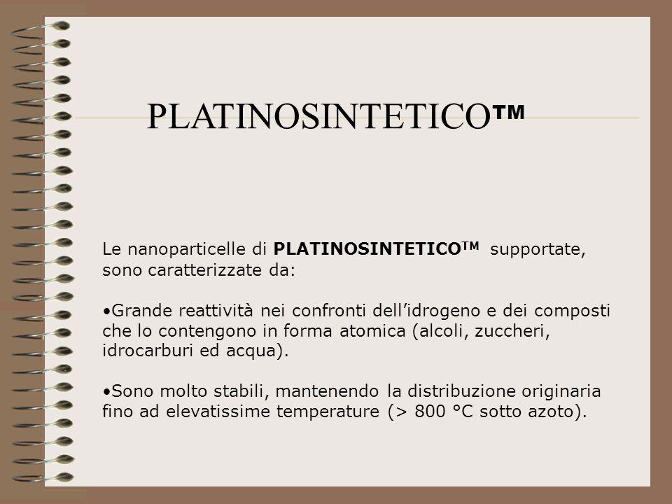 PLATINOSINTETICOTM Le nanoparticelle di PLATINOSINTETICOTM supportate, sono caratterizzate da: